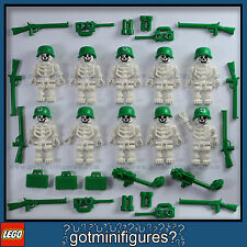 LEGO® SKELETON ARMY MEN  minifigures weapons rifle guys NEW town people lot 10