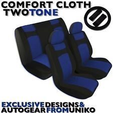 Black & Blue Seat Covers Bench Bucket Headrests Steering Wheel Polyester CS1