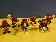 "Six 2"" CALIFORNIA RAISINS : CALRAB-TRUMPET/ GUITAR/ SINGER/SAX/HANDS UP/SUNGLASS"