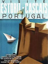 Viajes Turismo de Estoril Portugal pared de castillo Mar Barco arte cartel impresión lv4171