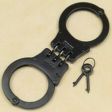 Heavy Duty Black Steel Hinged Double Lock Police Handcuffs Hand Cuffs 2 Keys NEW