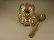 SILVER PLATED HUMPTY DUMPTY EGG CUP AND SPOON SET