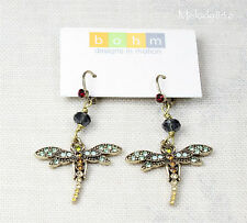 BOHM Earrings Dragonfly Art Deco Nouveau Gold/Brown/Green/Ruby Swarovski BNWT