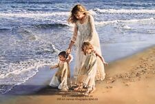 Sandra Kuck - OCEAN OF LOVE 16x20 art print, mom walking with daughters on beach