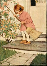 Postcard: Vintage Repro - Little Girl Sweeps Front Porch - Wilcox Smith