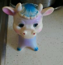 Vintage THE FIRST YEARS Rubber Squeak toy - Adorable Cow / Bull - Taiwan