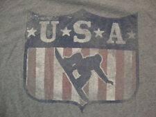 USA Snowboarding Sportswear Fan Apparel Distressed Gray Cotton T Shirt Size XL