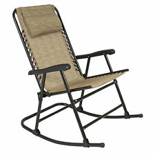 Folding Rocking Chair Foldable Rocker Outdoor Patio Furniture Beige