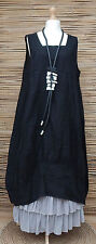 LAGENLOOK LINEN AMAZING LOVELY 2 POCKETS LONG TUNIC-DRESS*BLACK*SIZE L-XL-XXL