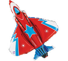 "38"" JUMBO Red FIGHTER JET Plane Airplane Air Force Birthday Party Balloon"