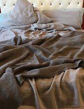 XXXL Bettüberwurf Plaid Decke Leinen vorgewaschen 205 x 230 cm, Ash-Grey