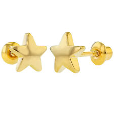 18k Yellow Gold Plated Little Plain Star Screw Back Toddler Girls Earrings 6mm