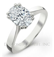 0.87 CT OVAL D VS1 GIA CERTIFIED DIAMOND ENGAGEMENT RING 6.70x5.52x3.53MM