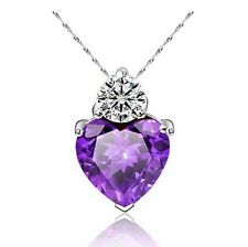 "Royal Purple Swarovski Element Cubic Zirconia Heart Free 18"" 925 Silver Necklace"