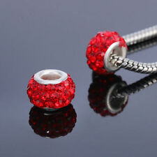10pcs Silver MURANO GLASS BEAD LAMPWORK fit European Charm Bracelet  red