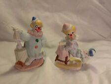 NIB 2 Fine Porcelain Hand Painted Clown Figurine