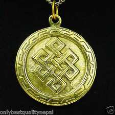 Medaglione Buddha Ciondolo d'oro Talismano in ottone felicità Simbolo a88