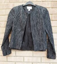 H&M BLACK SILVER GLITTER SPARKLY PADDED SHOULDER SPARKLY BLAZER COAT JACKET 8 S