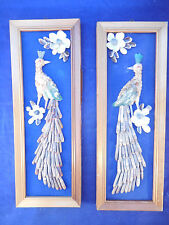 VINTAGE PHILLIPINES SEASHELL PEACOCK PAIR OF WALL PLAQUES