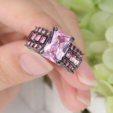 2016 Fashion Pink Sapphire Black Gold Filled Wedding Bridal Ring Gift Size 6