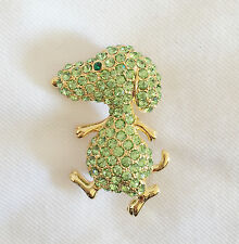 New Olive Cartoon Charlie Brown Snoopy Dog Crystals Brooch Pin Pet Gift BR1020