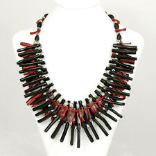 NY6DESIGN 3 strands Red/Black Sea Coral Long Branch Silver Clasp Necklace 20.5""
