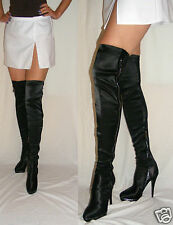 Women Over Knee Black Boots Stretch Zipped Lace High Heel Size 4