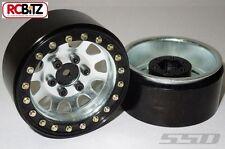 """1.9"""" Steel Beadlock D Hole Wheels 2 SILVER 12mm Hex mount Scale Bolts SCX10"""