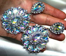 AB Rhinestone Clip On Chandelier Earrings Bridal Pageant 3.5 inch Drag Queen