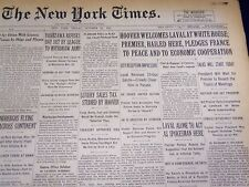1931 OCTOBER 23 NEW YORK TIMES - HOOVER WELCOMES LAVAL - NT 4147