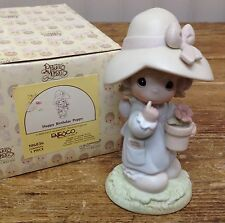 Precious Moments Figurine w Box Happy Birthday Poppy Plant Seeds Pot 106836 Girl