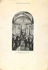Stampa antica MADONNA in TRONO con Bambino e Santi BELLINI 1873 Old print