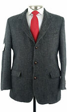 Orvis Harris Tweed 2/3 Roll  Gray Herringbone Wool Sport Coat Jacket 42 Long