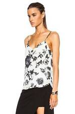 $265 HAUTE HIPPIE BLACK AND SWAN SILK COWL BACK BLOUSE TANK TOP  S