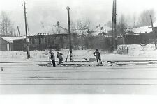 1977 Original Photo women workers shovel snow on railroad tracks in Soviet Union