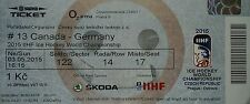 mint TICKET Eishockey WM 3.5.2015 Canada - Deutschland in Prag