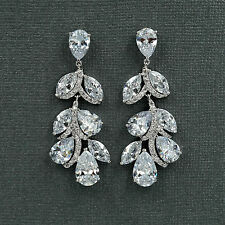 18K White Gold Plated Cubic Zirconia CZ Leaf  Wedding Bridal Drop earrings 6588