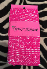 NWT Betsey Johnson Rare Galaxy Net Tights Pattern Bright Pink Stockings m/l
