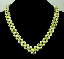 Crystal Pearl Necklace with Swarovski Crystal White Yellow Black Sterling Silver