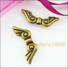 15 New Charms Lovely Wings Spacer Beads 7x20.5mm Antiqued Bronze