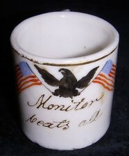 Unique Hand-Painted Civil War US Navy Ironclad USS Monitor Miniature Mug