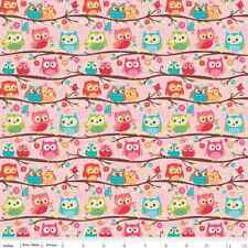 Jersey KNIT Fabric by Yard - Happy Flappers Owls in Pink - Riley Blake  cute owl