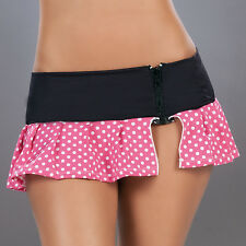 RL1 5001 SEXY PINK POLKA DOTS ZIPPER PLEATED ROLLER DANCE MICRO SKIRT RAVE S M L