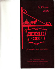 Colonial Inn Government Street Victoria Canada Vintage Brochure Dining Room