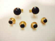Cufflinks and Tuxedo Studs Gold  Black Faux Onyx New
