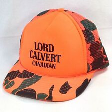 Lord Calvert Canadian Whiskey Hunter Blaze Orange Camo Mesh Snapback Trucker Hat