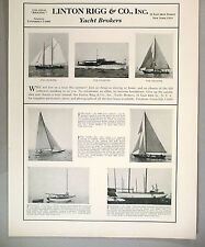Linton Rigg PRINT AD - 1933 ~~ Yachts & Schooners For Sale