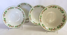 Christmas China Soup Cereal Bowl Set of 4 Gibson Holly Celebration Green Rims FS