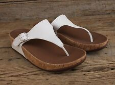 FitFlops Skinny Leather Thong Sandals in Pure White Size 8