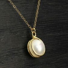 14k Gold Filled Pearl Necklace Hand Wrapped Pendant Bridal Wedding Jewelry Y708